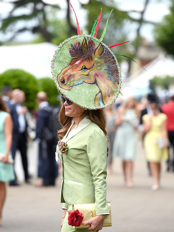 A racegoer to day one of this year's races took the theme very literally.