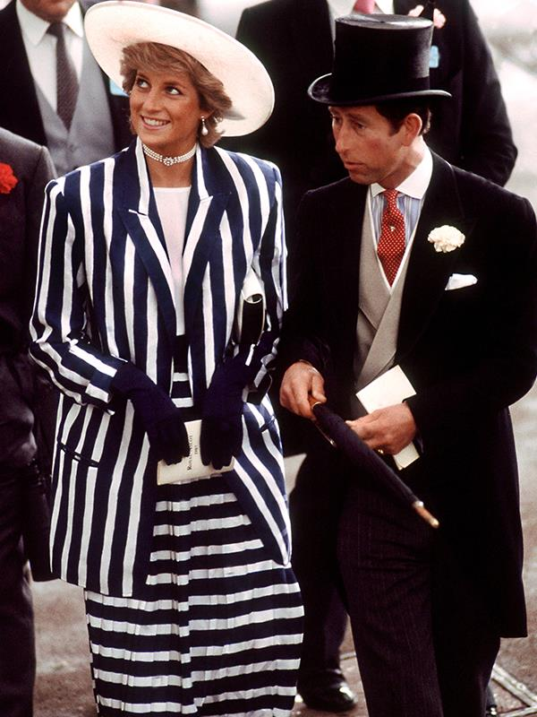 Prince Diana was so ahead of her time! The Princess of Wales wore a chic striped suit by Roland Klein and hat by Philip Somerville in 1987.
