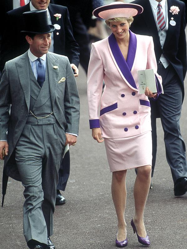 Princess Diana wore a suit like no other royal. In 1990, she opted for this Catherine Walker dusty pink and purple ensemble.