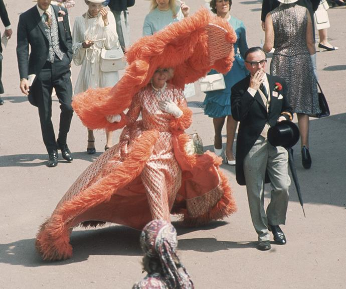 Gertrude Shilling, a stalwart of outrageous fashion at the Berkshire race course. In 1969 she wore a show-stopping apricot number with an enormous, matching, cartwheel hat.