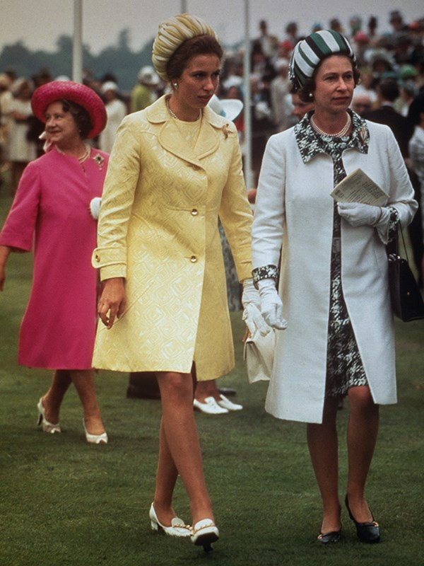 Queen Elizabeth with Princess Anne and the Queen Mother in pink at Royal Ascot, 1970.