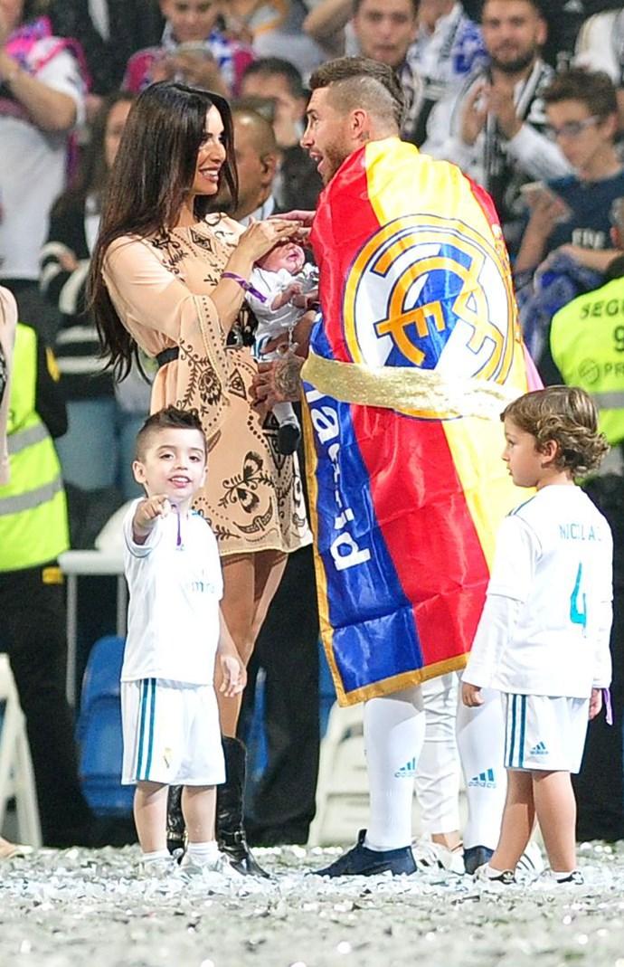 Pilar Rubio, Sergio Ramos and their three kids.