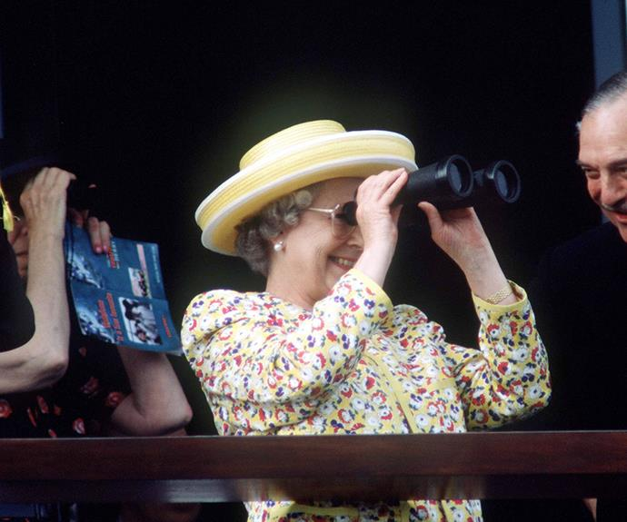 Lizzie keeps an eagle on eye on her horses at Royal Ascot in 1996.