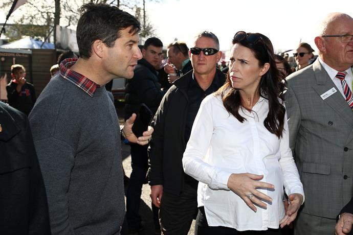 Jacinda and Clarke deep in conversation on one of Jacinda's last Prime Ministerial duties over the weekend.