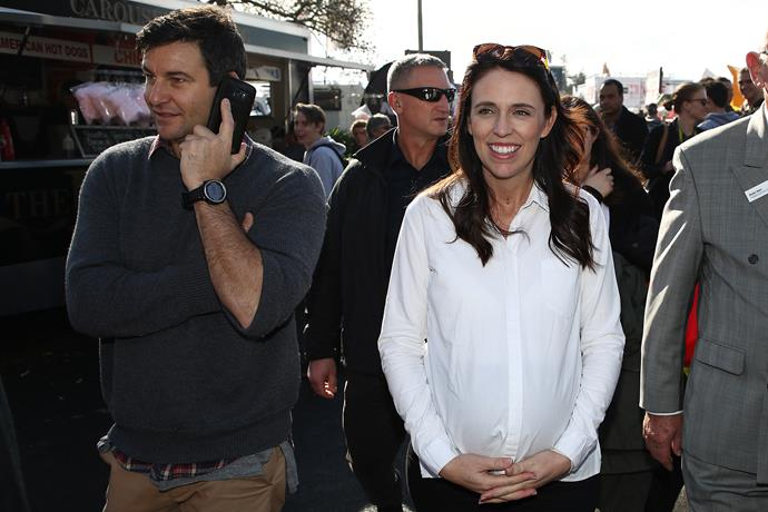 Jacinda and Clarke take a walk around the Fieldays in Mystery Creek on June 14, 2018 in Hamilton, New Zealand just days ahead of her due date of Sunday, June 17.