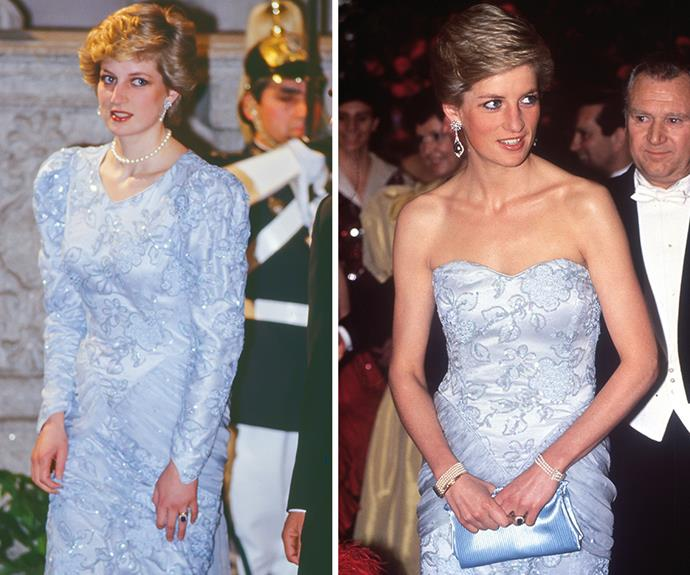 Diana debuted this beaded long-sleeved gown for the first time during an official visit to Lisbon, Portugal in 1987. She then stepped out in it again to a charity ball in 1989, after craftily having it altered into a strapless number.