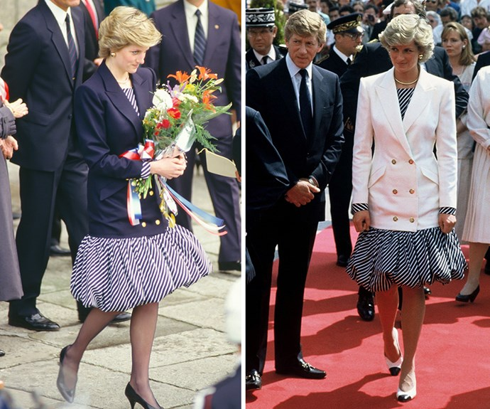 The Princess of Wales stepped out in Lisbon, Portugal in 1987 wearing a balloon-skirted diagonal stripped dress under a navy blazer. Diana wore the same outfit again to the Cannes Film festival a few months later, this time opting for a white blazer.