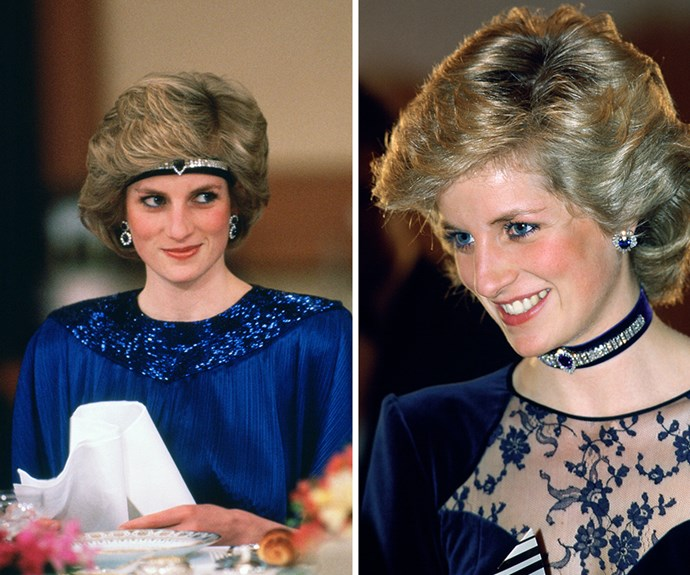 The Princess was a true fashionista, finding unique ways to wear her favourite accessories. Diana was crafted a headband made from jewels, which she had reset from the Saudi suite of sapphires. She also wore as a choker necklace.