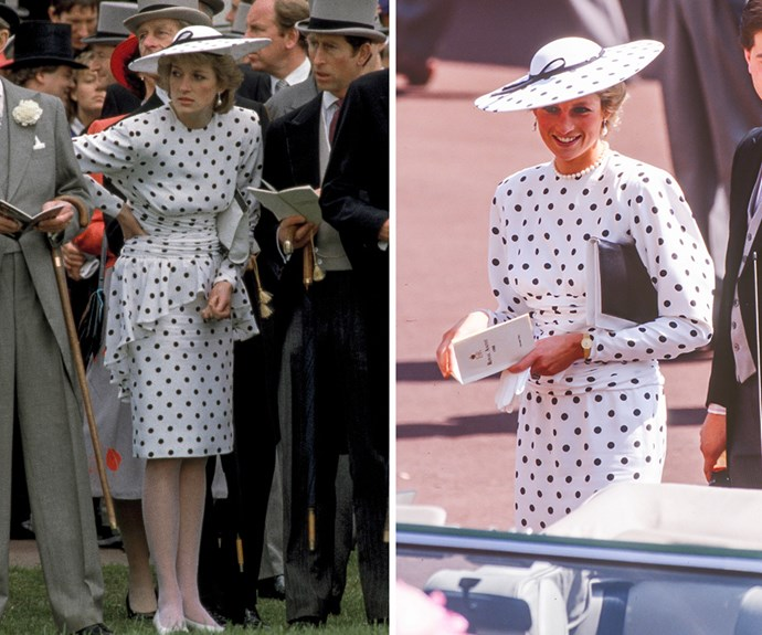 Polka-dotted outfits were a staple in Diana's wardrobe. This Victor Edelstein number was first worn by Diana at the 1986 Royal Ascot. For it's second wear, the savvy Princess removed the peplum-skirt and paired it with pears for a day at the races two years later.