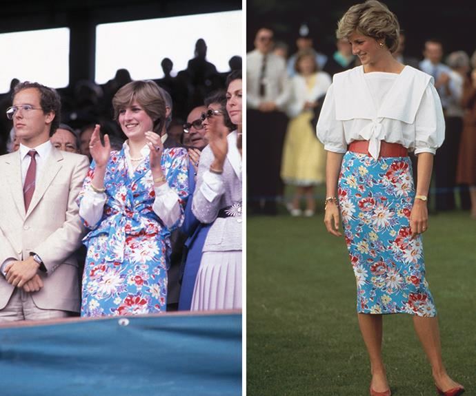 The best thing about matching separates, is that they can be broken up -- a style note not lost on Lady Di. At left, Diana is photographed enjoying the 1981 Wimbledon Tennis Championships. Four years later she wore just the skirt teamed with a wide tan leather belt and crisp white sailor shirt to a day a the polo.
