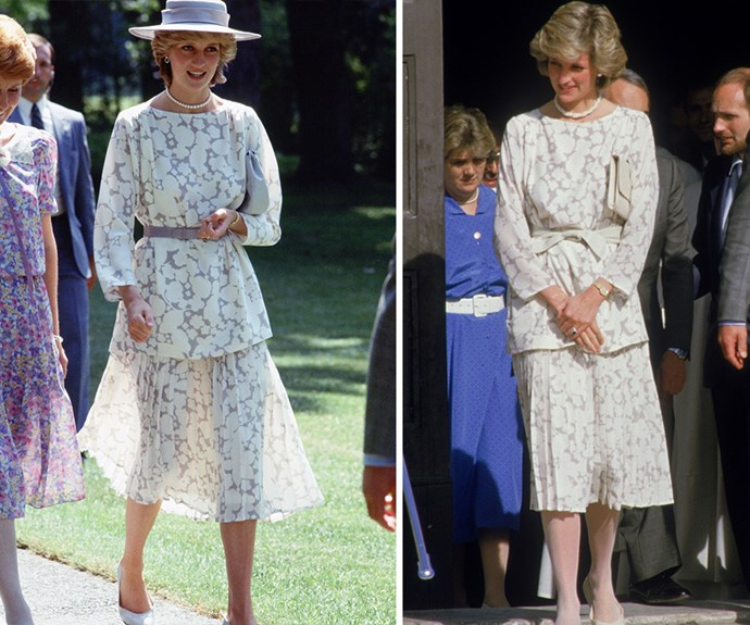 Diana adored this two piece set by Jasper Conran, she wore it many times. Here she is pictured pairing it with a hat during a visit to Ottawa, Canada and again on a tour of Italy in 1985.