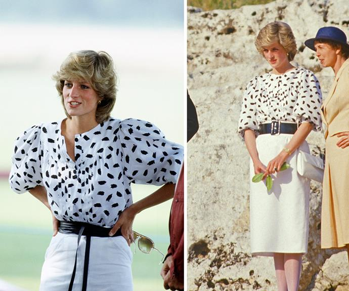 Diana was the Princess of shirting. At left the style icon wears an abstract shirt to a polo match in 1983. Diana wore the same shirt again, updating it with a new belt during a visit to Siracusa amphitheatre, in Italy, 1985.