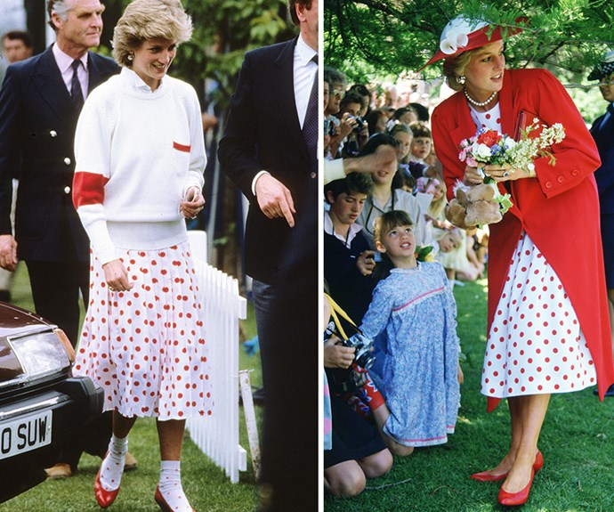 At left, Diana in her Mondi spotty skirt and matching ankle socks at a polo match in 1986. The Princess packed her iconic skirt for a royal tour of Australia, here she wears it to the Royal Botanical Gardens in Melbourne.