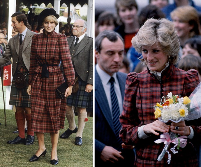 The late Princess loved this tartan suit by Caroline Charles. She wore it to the Braemar Highland Games in Scotland in 1981 and then again in Bridgend in South Wales, 1985 with a slightly different collar underneath.