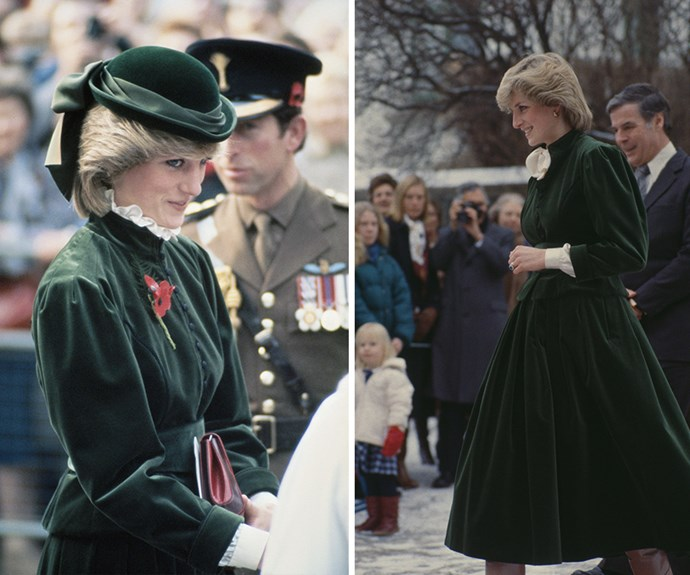 Gorgeous in green velvet! Princess Diana wearing a Caroline Charles suit at the Guard's Chapel, London, 1983 and stepping out in it again, with a pussy-bow neckline in snowy Norway.