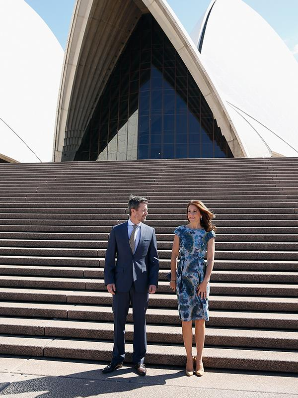 The Crown Prince and Princess look at ease with a Sydney backdrop.