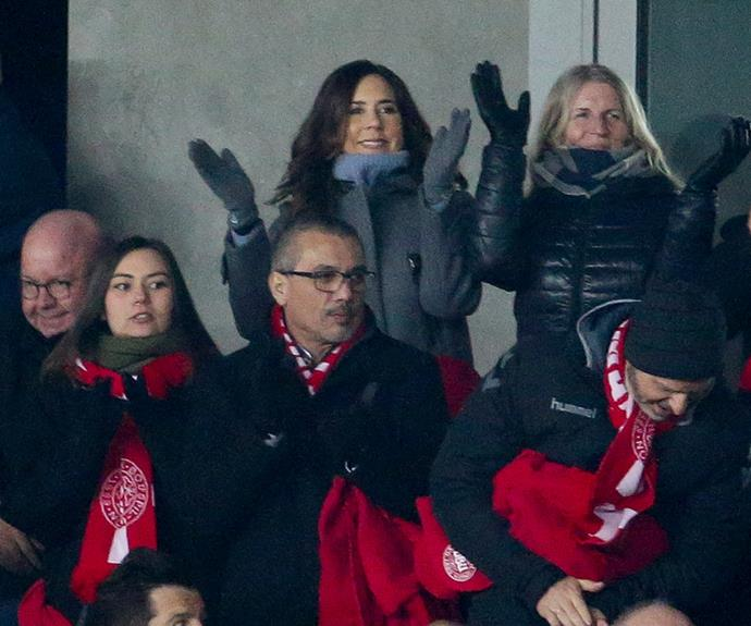 Princess Mary supporting Denmark's football team at a friendly match against Panama - she's not sporting the national colours though! There's still hope.