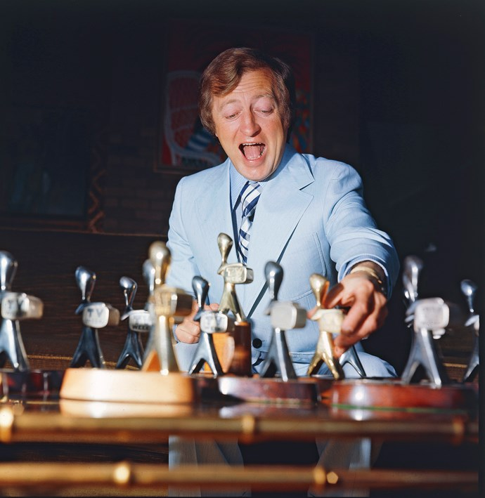Graham Kennedy counts his Logies in 1971.