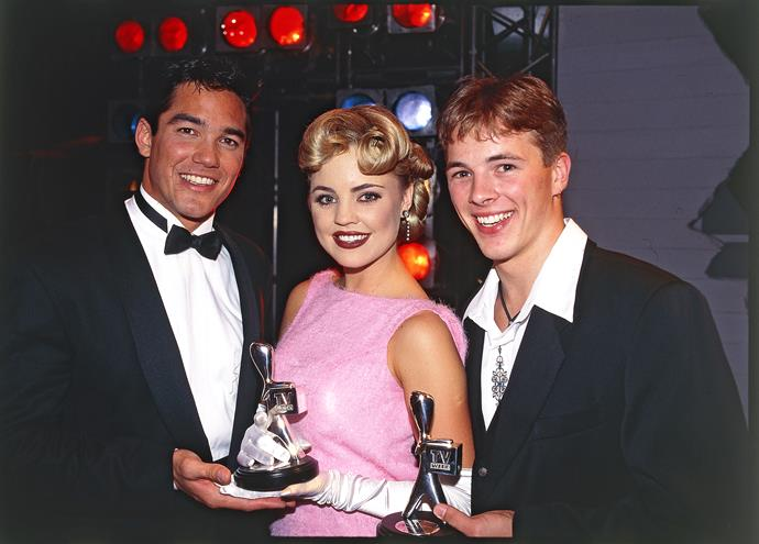 *Home and Away* alums Melissa George and Dieter Brummer with US star Dean Cain at the 1995 Logies.