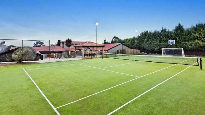 Cahill's kids practised their soccer skills on the tennis court. *Image credit: Realestate.com.au*