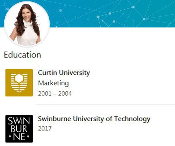 Tracey's LinkedIn page describes her university education.