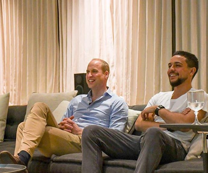 Wills enjoyed some downtime with Hussein, the Crown Prince of Jordan, watching England beat Panama in the 2018 World Cup.
