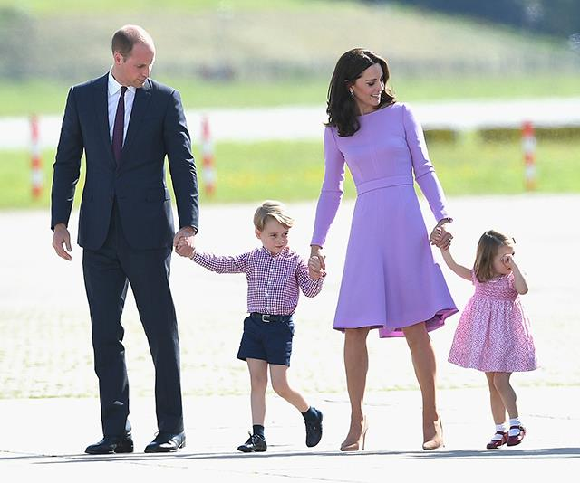 Prince William, Prince George, Duchess Kate and Princess Charlotte on the tarmac.