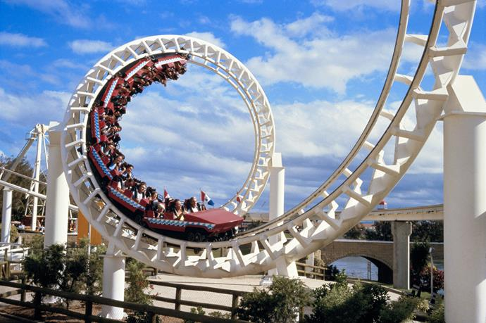The corkscrew rollercoaster at the Gold Coast's Sea World. Source: Getty Images