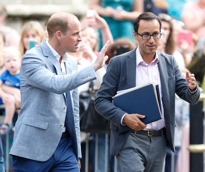 Prince William, Duke of Cambridge, accompanied by his former Private Secretary Miguel Head, visiting Truro Cathedral on September 1, 2016 in Truro, England.