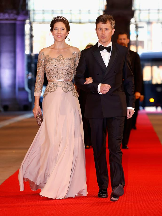 Crown Princess Mary stunned in a soft pink while celebrating Queen Margrethe II's 75th birthday.