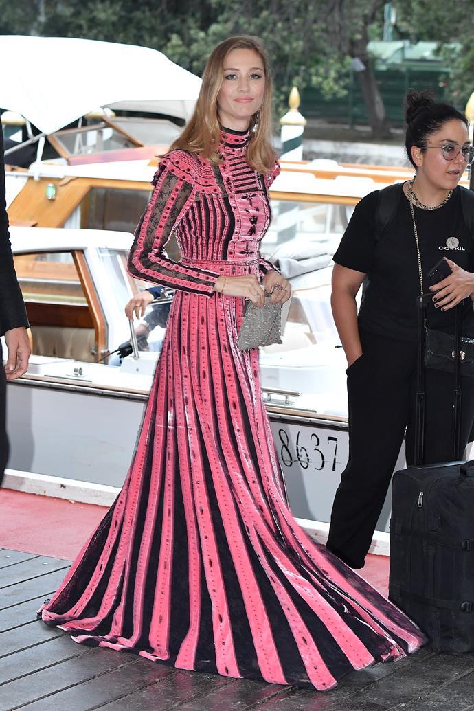 Monaco royal Beatrice Borromeo dove into the hot pink side of the scale when she attended the Venice Film Festival.
