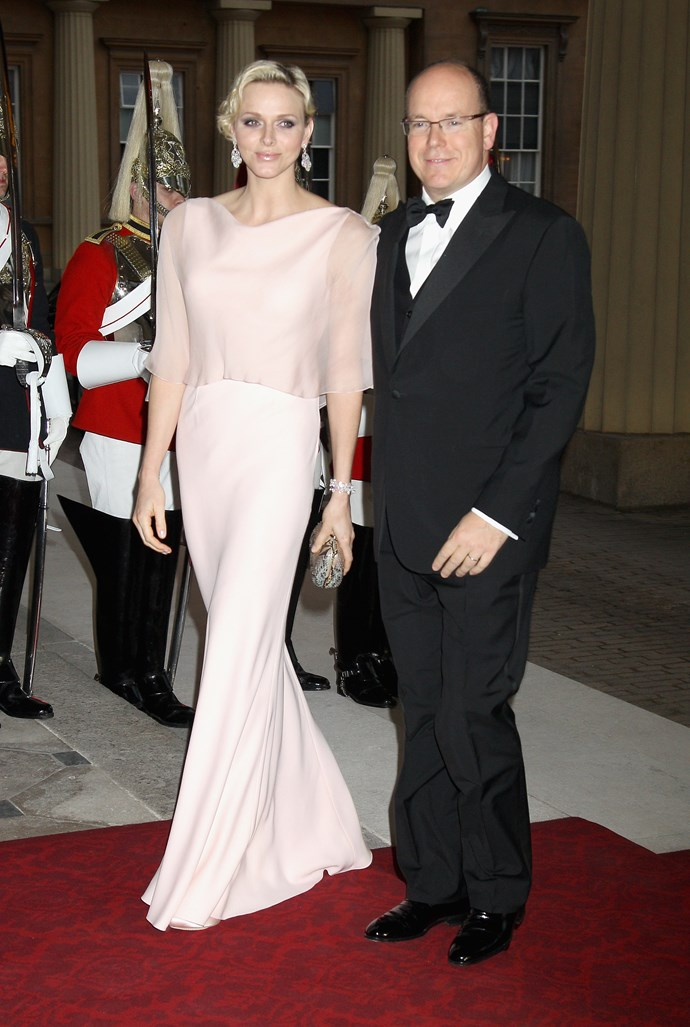 Princess Charlene of Monaco glides into the Diamond Jubilee in soft silk.