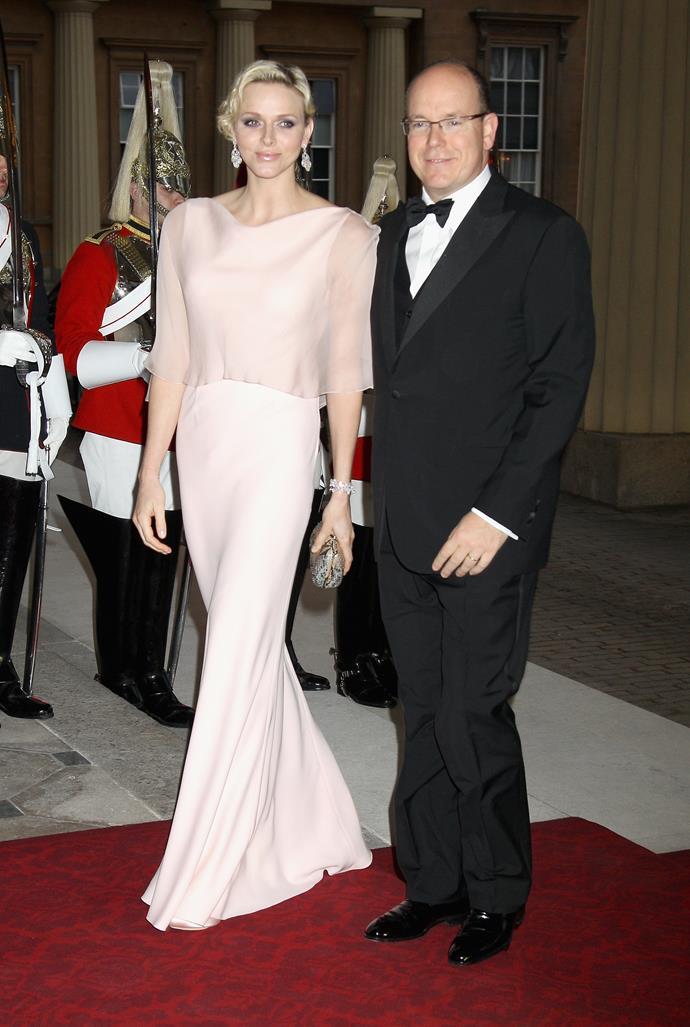 Princess Charlene of Monaco glides into the Diamond Jubilee in soft silk.