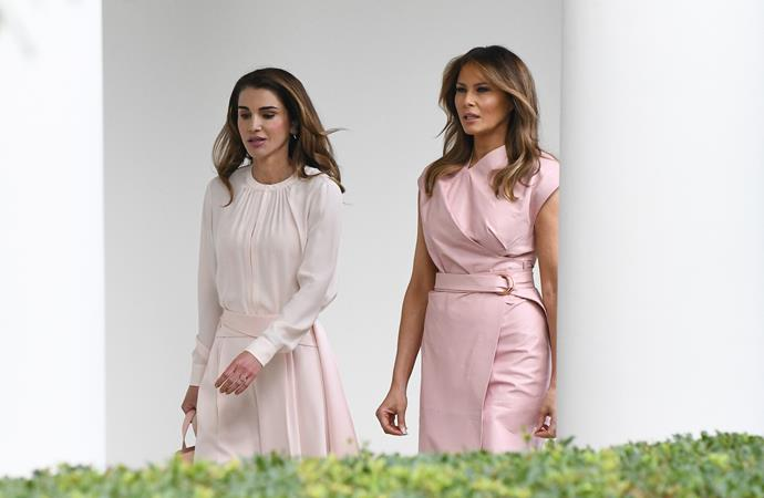 Queen Rania of Jordan matches Melania in soft hues and striking silhouettes.