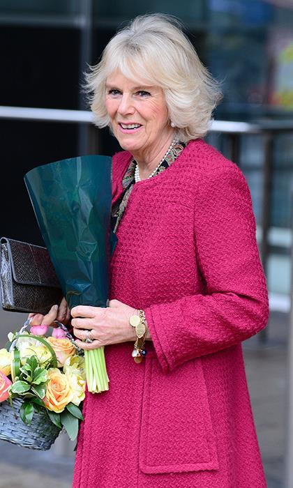 The Duchess of Cornwall's coat complemented her pretty flowers during a reception held at New Zealand House, London.