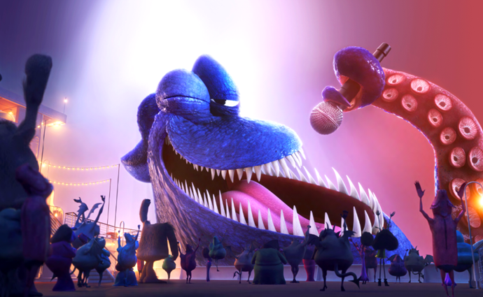Joe voices the Kraken, a giant tentacled sea monster - who sings!