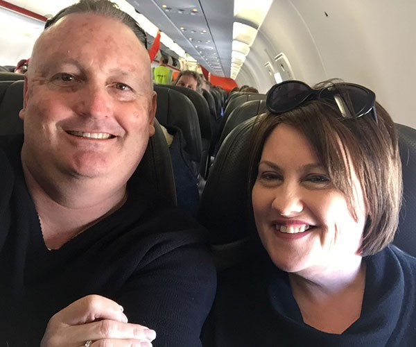 On the plane going to Tasmania. We were always going somewhere.
