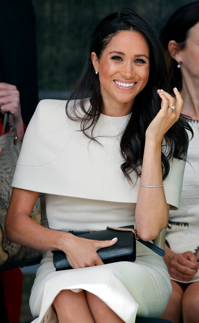 Oh my… Meghan! Structured and formal – and we're not just talking about Meghan's post-wedding posture and poise – the Duchess of Sussex sported an angular, capped, ladylike Givenchy dress for her first solo event with the Queen in Cheshire. Meghan clearly loves the luxury French designer, having worn Givenchy on her wedding day.