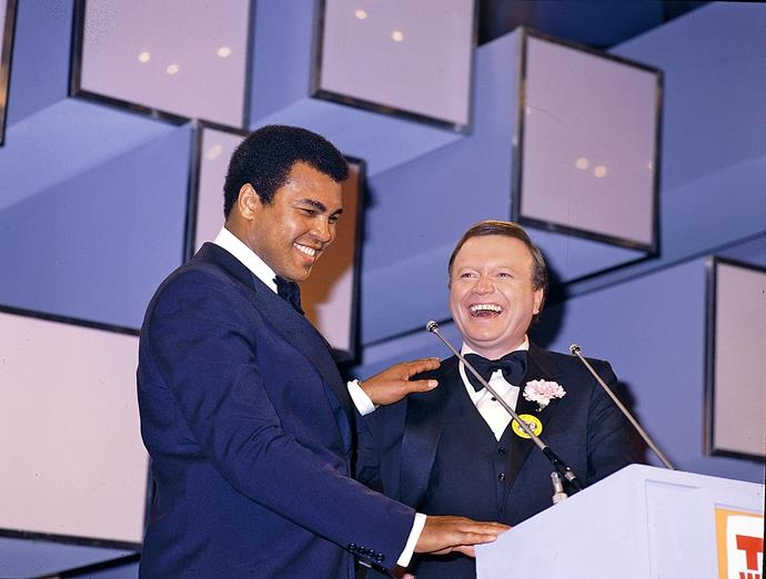 Bert and Muhammad Ali at the 1979 Logies.