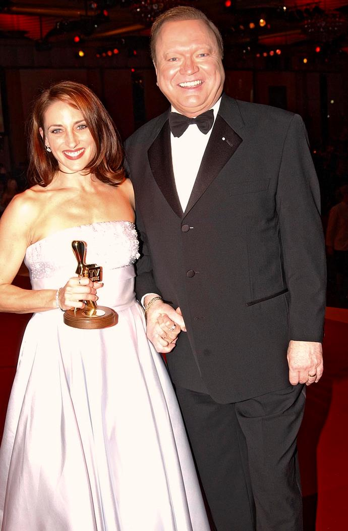 Georgie with her Gold Logie, and Bert Newton, in 2002.