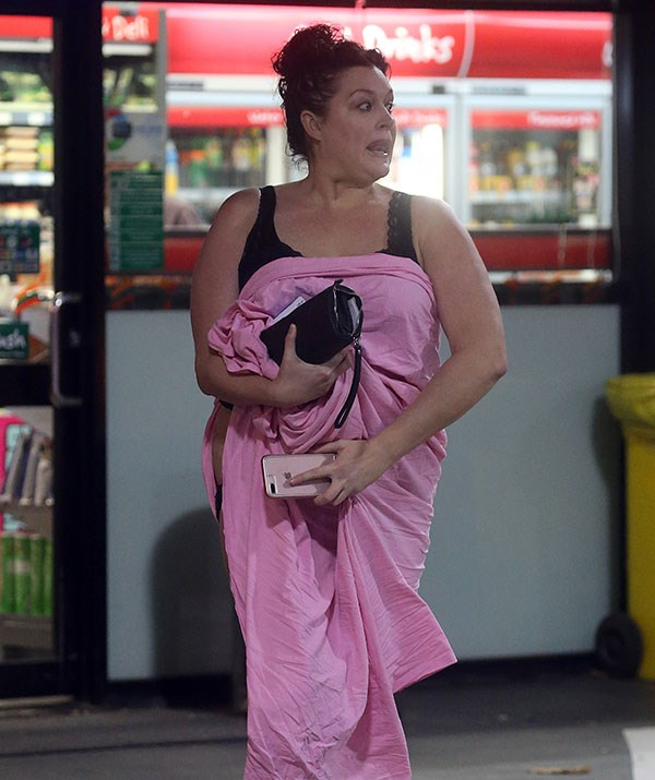 Tziporah Malkah does the milk dash in a pink bed sheet.