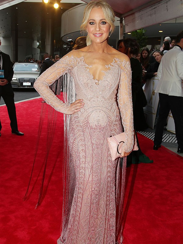 Mum-to-be Carrie Bickmore glowing in a beaded, ombre showstopper. And doesn't her bump just look gorgeous?!