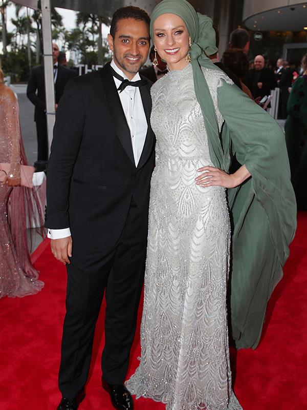 *The Project*'s Waleed Aly has brought his beautiful wife, Susan Carland, to the Logies, and doesn't she look like a dream in this gently embellished, silver gown.