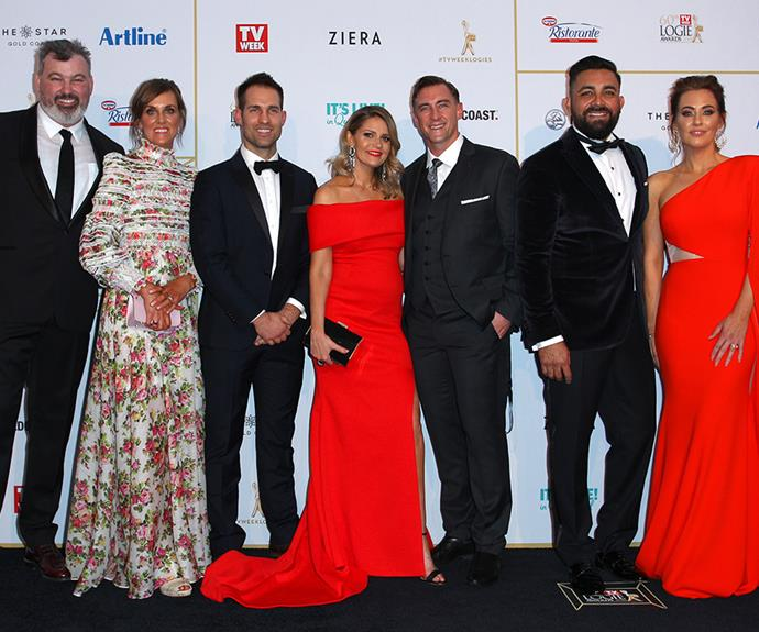 The Block's Jason and Sarah, Dan, Hannah and Clint, and Ronnie and Georgia have renovated their looks, going from tool-clad tradies to red-hot style-setters in front of the Logies' media wall.