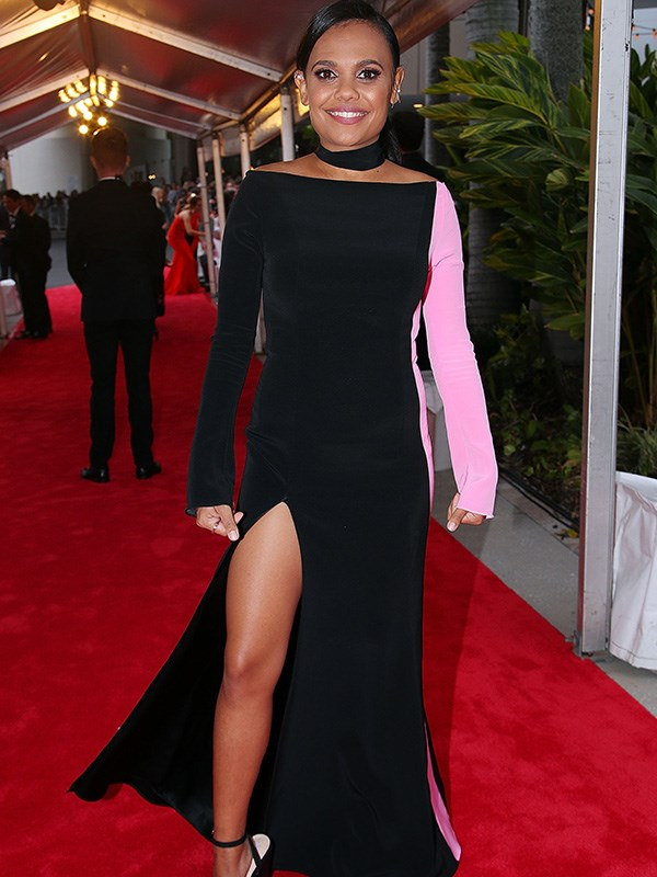 Miranda Tapsell is serving up a thigh-splitting look to rival Angelina Jolie! We're loving the frock's fabulous millennial-pink race stripe.