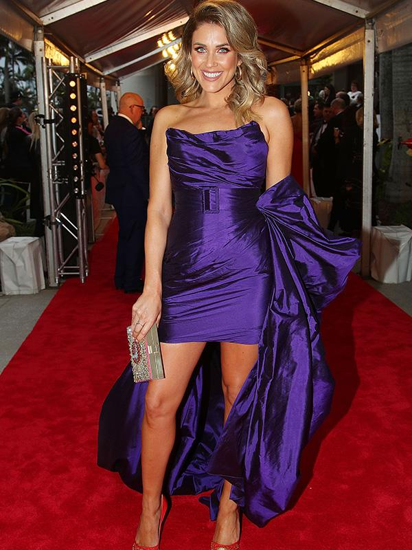 Va-va-voom! Bachelorette Georgia Love's bold, bowed look is definitely one of the more striking looks from the Logies' red carpet.