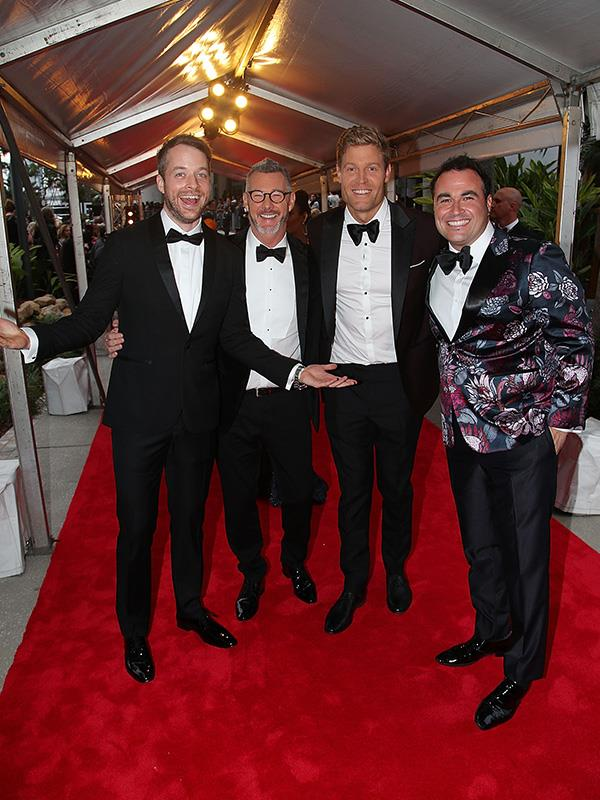 Hamish Blake, Barry Dubois, Chris Brown and Miguel Maestre are having a little too much at the Logies. (Psst: Wait until the afterparty, boys!)
