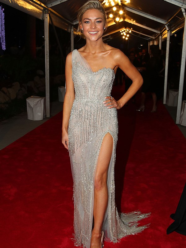 Sam Frost got the metallic/bead memo, rocking up to the Logies' red carpet in this modern take on a Gatsby evening gown.