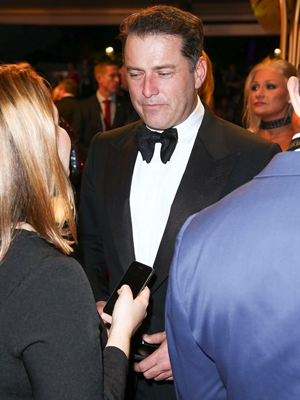 Karl Stefanovic on the other end of interviewing at the Logies.