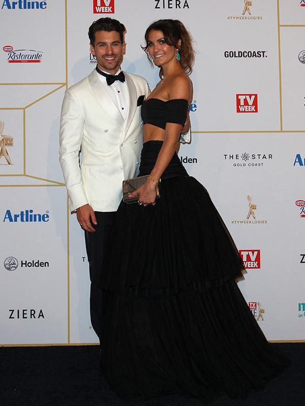 One of our favourite couples, *The Bachelor*'s Matty J and Laura Byrne all loved up on the red carpet. (Also, shoutout to Laura's perfect abs!)
